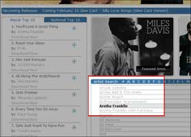 Screenshot showing the alphabetical artist list on Freegal.