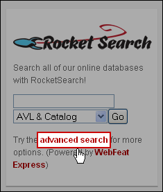 Screenshot: click the 'advanced search' link in the RocketSearch box