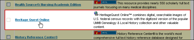 Screenshot: Where to click to access just the Heritage Quest databases.