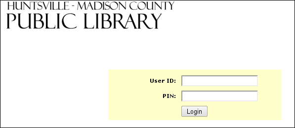 Screenshot: type your library card number and PIN here.