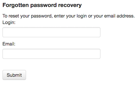 Password recovery option