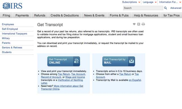 Screenshot of the Get Transcript .gov site