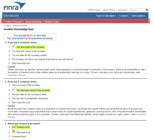 Screen capture of the FINRA tool