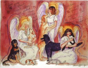 Guardian Angels with Dogs Illustration